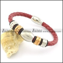red leather bracelet with steel and rose gold tone accessories b001606