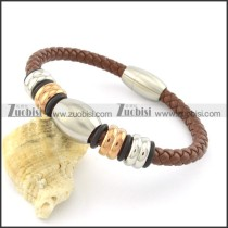 brown leather bracelet for men with rose gold and silver steel accessories b001605