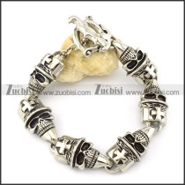 6 big skull head with cross bracelet -b001475