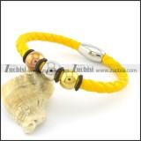 fresh yellow 6mm diameter leather bracelets b001619