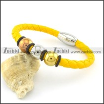 fresh yellow 6mm diameter leather bracelets b001619