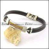 rubber bracelet with stainless steel parts b001728