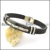 rubber bracelet with stainless steel parts b001725