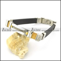 rubber bracelet with stainless steel parts b001727