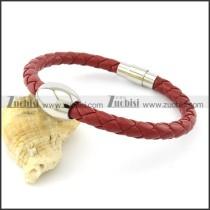 vivid red stainless steel leather bracelet b001562