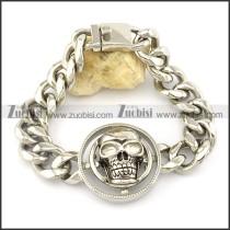 rould skull head link chain bracelet -b001474