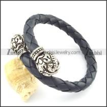 genuine leather bracelet in stainless steel b001873