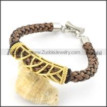 braided leather bracelet with OT buckle b001841