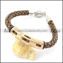 braided leather bracelet with OT buckle b001858