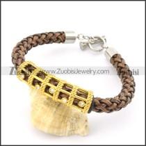 braided leather bracelet with OT buckle b001845