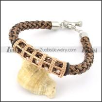 braided leather bracelet with OT buckle b001846