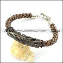 braided leather bracelet with OT buckle b001852