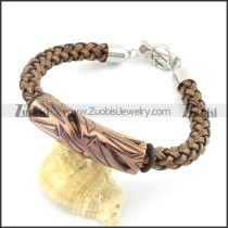 braided leather bracelet with OT buckle b001851