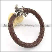 genuine leather bracelet in stainless steel b001865