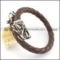 genuine leather bracelet in stainless steel b001867