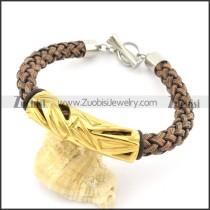 braided leather bracelet with OT buckle b001849