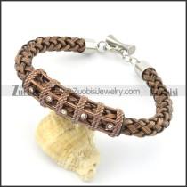 braided leather bracelet with OT buckle b001847