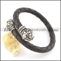 genuine leather bracelet in stainless steel b001872