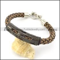 braided leather bracelet with OT buckle b001856