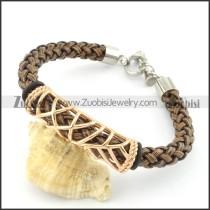 braided leather bracelet with OT buckle b001842
