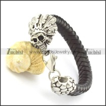 black mens braided leather bracelets with stainless steel Shaikh head b001800