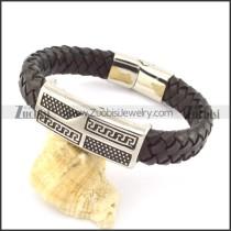 genuine leather bracelet in stainless steel b001960