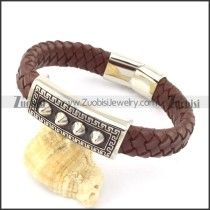 genuine leather bracelet in stainless steel b001955