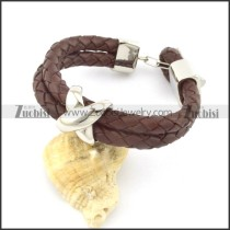 genuine leather bracelet in stainless steel b001894