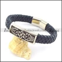 genuine leather bracelet in stainless steel b001953