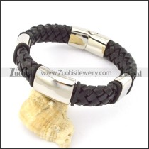 genuine leather bracelet in stainless steel b001901