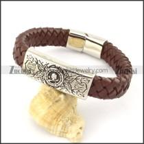 genuine leather bracelet in stainless steel b001932