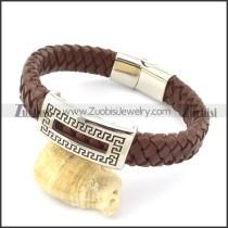 genuine leather bracelet in stainless steel b001964
