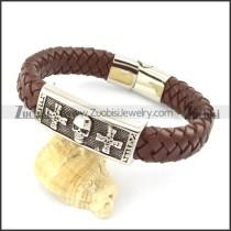 genuine leather bracelet in stainless steel b001935