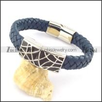 genuine leather bracelet in stainless steel b001967