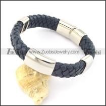 genuine leather bracelet in stainless steel b001903