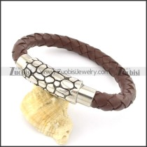 genuine leather bracelet in stainless steel b001882