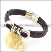 genuine leather bracelet in stainless steel b001907
