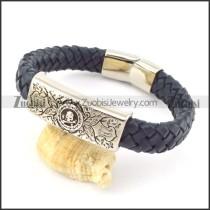 genuine leather bracelet in stainless steel b001933
