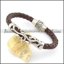 genuine leather bracelet in stainless steel b001888