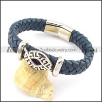 genuine leather bracelet in stainless steel b001912