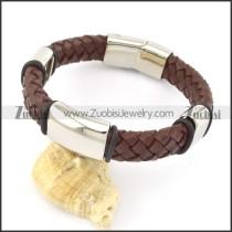genuine leather bracelet in stainless steel b001902