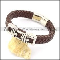 genuine leather bracelet in stainless steel b001905