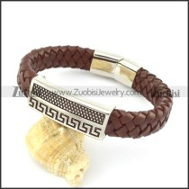 genuine leather bracelet in stainless steel b001958