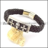 genuine leather bracelet in stainless steel b001934