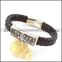 genuine leather bracelet in stainless steel b001945