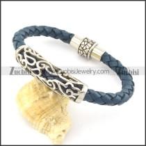 genuine leather bracelet in stainless steel b001892