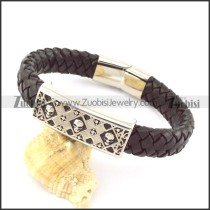 genuine leather bracelet in stainless steel b001937