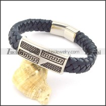 genuine leather bracelet in stainless steel b001962