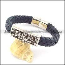 genuine leather bracelet in stainless steel b001947