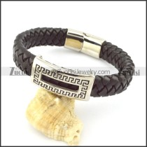genuine leather bracelet in stainless steel b001963